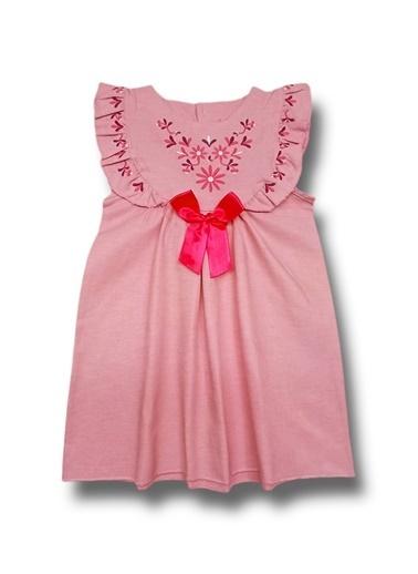 By Leyal For Kids Nakışlı Keten Elbise Pudra